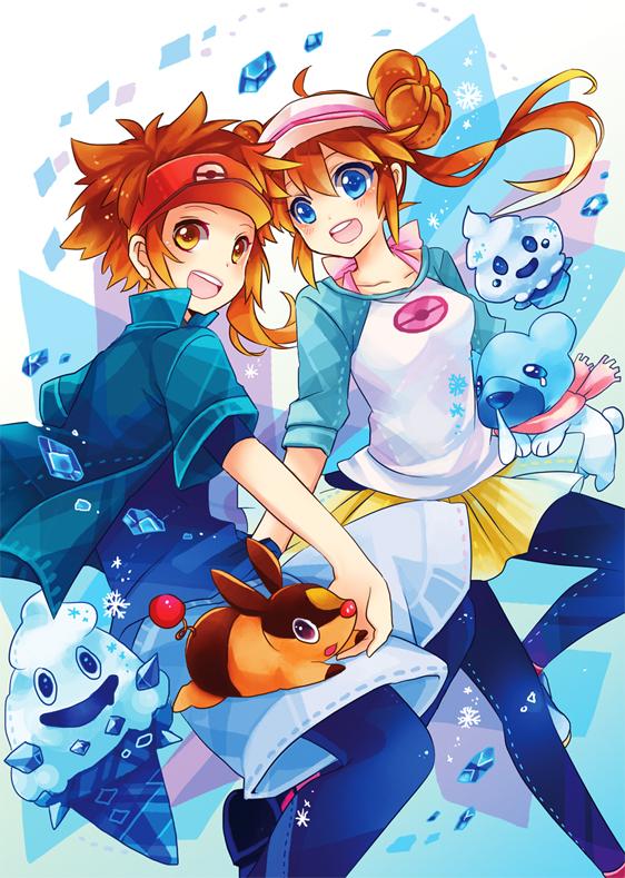 Tags: Anime, Miki (Momoko), Pokémon, Vanillish, Tepig, Kyouhei, Vanillite, Cubchoo, Mei (Pokémon), Fanart From Pixiv, Pixiv, Mobile Wallpaper, Fanart