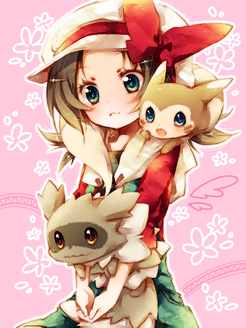 Tags: Anime, Amamiya Kabosu, Pokémon, Furret, Zigzagoon, Kotone (Pokémon), Animal Around Neck, Holding Animal, Animal on Shoulder, PNG Conversion, Pixiv, Fanart, Fanart From Pixiv