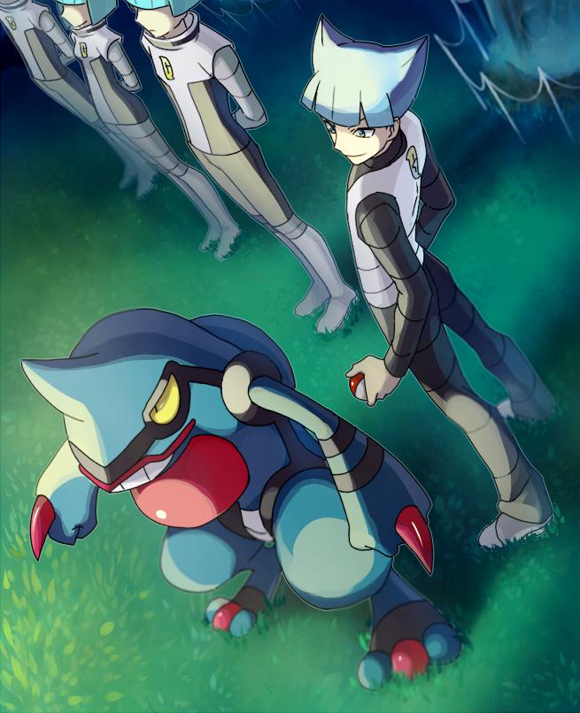 Tags: Anime, Onuko (Pixiv1861313), Pokémon, Team Galactic Underling (Female), Toxicroak, Team Galactic Underling (Male), Saturn (Pokémon), Fanart From Pixiv, PNG Conversion, Fanart, Pixiv
