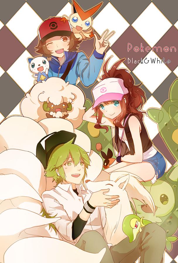 Tags: Anime, Huahua, Pokémon, Whimsicott, Touko (Pokémon), Snivy, Ninetales, Oshawott, Victini, Tepig, N (Pokémon), Touya (Pokémon), Reuniclus