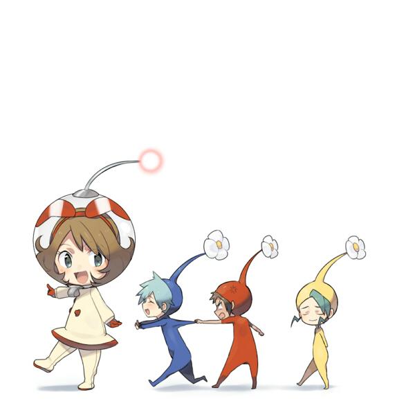 Tags: Anime, Petagon, Pokémon, Mikuri (Pokémon), Yuuki (Pokémon), Haruka (Pokémon), Tsuwabuki Daigo, Company Connection, Pikmin (Cosplay), Pikmin (Parody), Fanart, Fanart From Pixiv, Pixiv