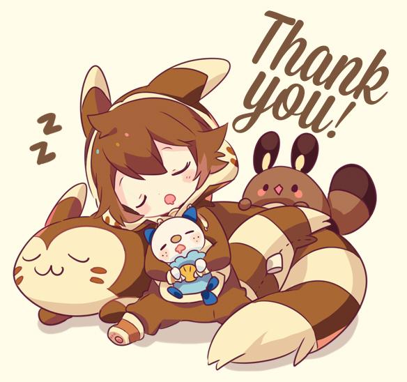 Tags: Anime, Welchino, Pokémon, Touya (Pokémon), Furret, Oshawott, Sentret, Furret (Cosplay), Text: Thank You, Zzz, Fanart, Fanart From Pixiv, Pixiv