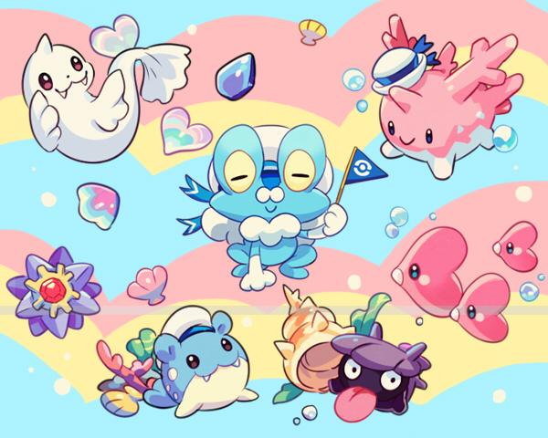 Tags: Anime, Welchino, Pokémon, Shellder, Dewgong, Corsola, Luvdisc, Starmie, Spheal, Froakie, Clam Shell, Holding Flag, Fanart
