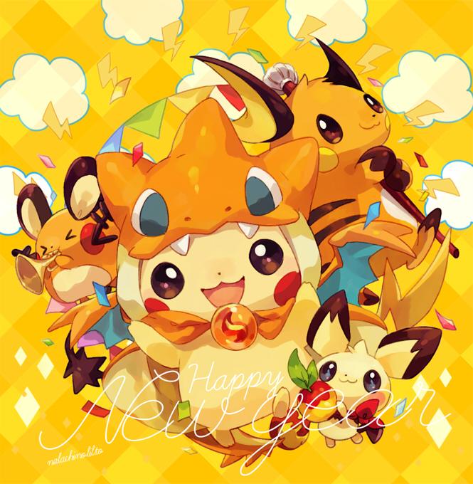 Tags: Anime, Welchino, Pokémon, Pikachu, Pichu, Raichu, Dedenne, Banner, Lightning Bolt (Symbol), Berry, Charizard (Cosplay), Trumpet, Pixiv