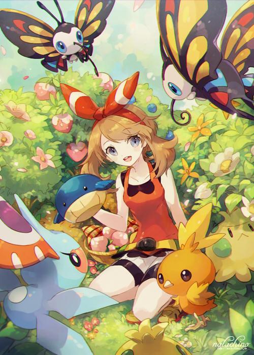 Tags: Anime, Welchino, Pokémon, Beautifly, Haruka (Pokémon), Torchic, Shroomish, Masquerain, Wailmer, Berry, Peach (Fruit), Fanart From Pixiv, Pixiv
