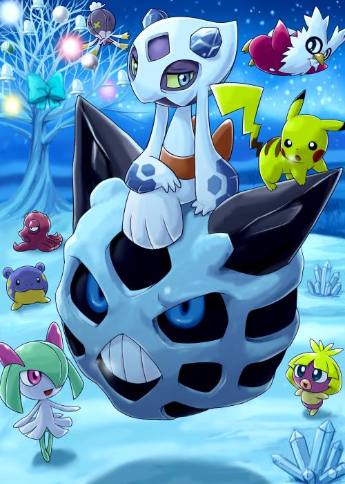 Tags: Anime, Soara, Pokémon, Froslass, Octillery, Spheal, Delibird, Drifblim, Smoochum, Pikachu, Kirlia, Glalie, Holding Bag