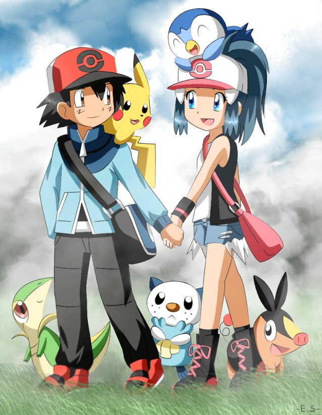 Tags: Anime, Endless-summer181, Pokémon, Hikari (Pokémon), Satoshi (Pokémon), Snivy, Pikachu, Tepig, Piplup, Touko (Pokémon) (Cosplay), Touya (Pokémon) (Cosplay)