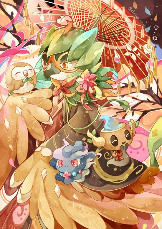 Tags: Anime, Chaloc Nana, Pokémon, Decidueye, Rowlet, Misdreavus, Phantump, Fanart, Mobile Wallpaper, PNG Conversion, Pixiv, Fanart From Pixiv