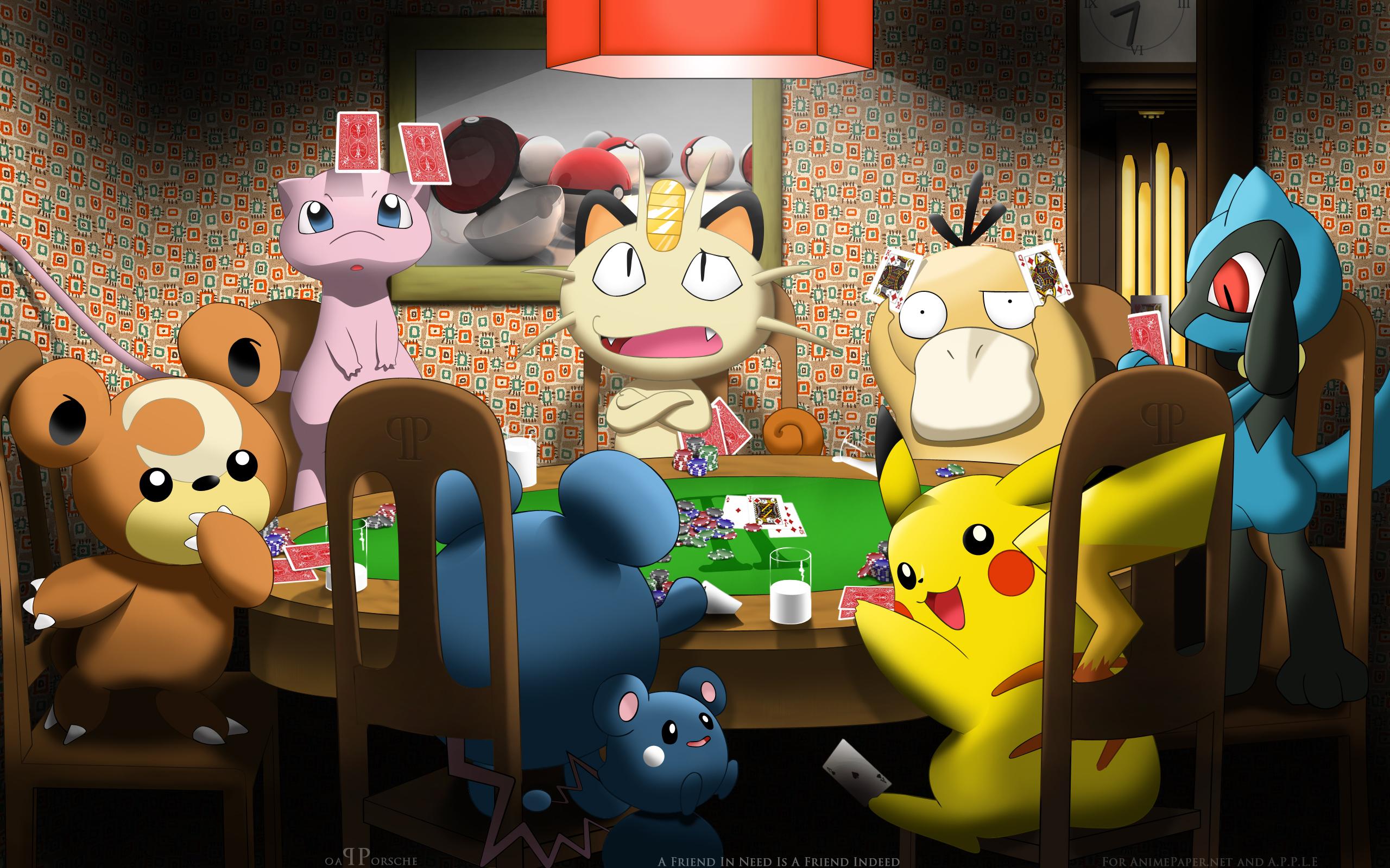 Tags: Wallpaper, Pokémon, Pikachu, Meowth, Psyduck, Mew, Riolu, Teddiursa, HD Wallpaper