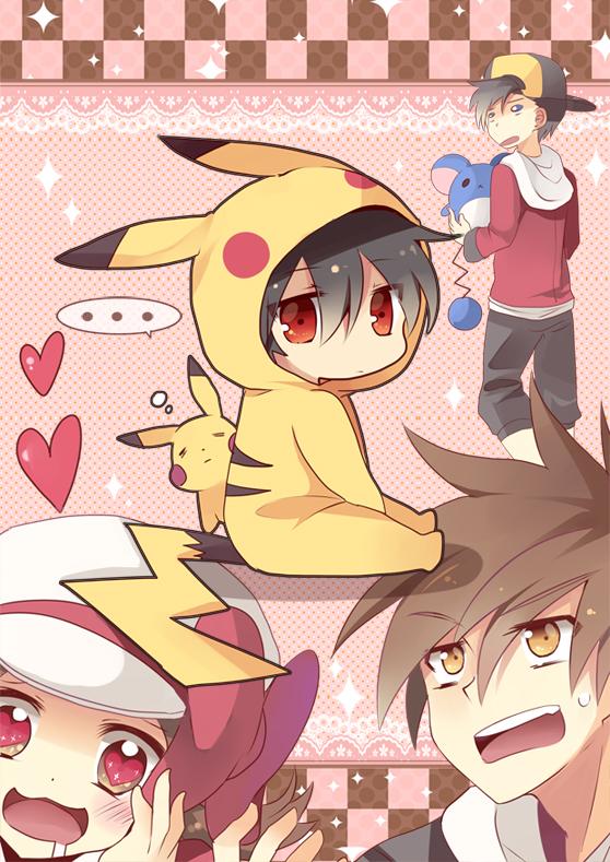 Tags: Anime, Dandelion (Artist), Pokémon, Pikachu, Red (Pokémon), Kotone (Pokémon), Hibiki (Pokémon), Marill, Green (Pokémon), Pikachu (Cosplay), Pixiv, Mobile Wallpaper, Fanart
