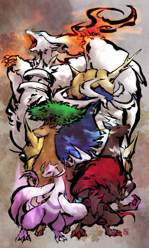 Tags: Anime, Fuchi, Pokémon, Samurott, Reshiram, Mienshao, Zoroark, Zebstrika, Sawsbuck, Deer, Nihonga, Legendary Pokémon, Mobile Wallpaper