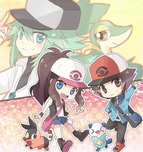 Tags: Anime, Pokémon, N (Pokémon), Touya (Pokémon), Touko (Pokémon), Snivy, Oshawott, Tepig