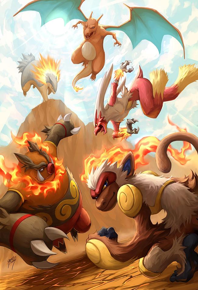 Tags: Anime, Quirkilicious, Pokémon, Blaziken, Typhlosion, Charizard, Emboar, Infernape, Mobile Wallpaper