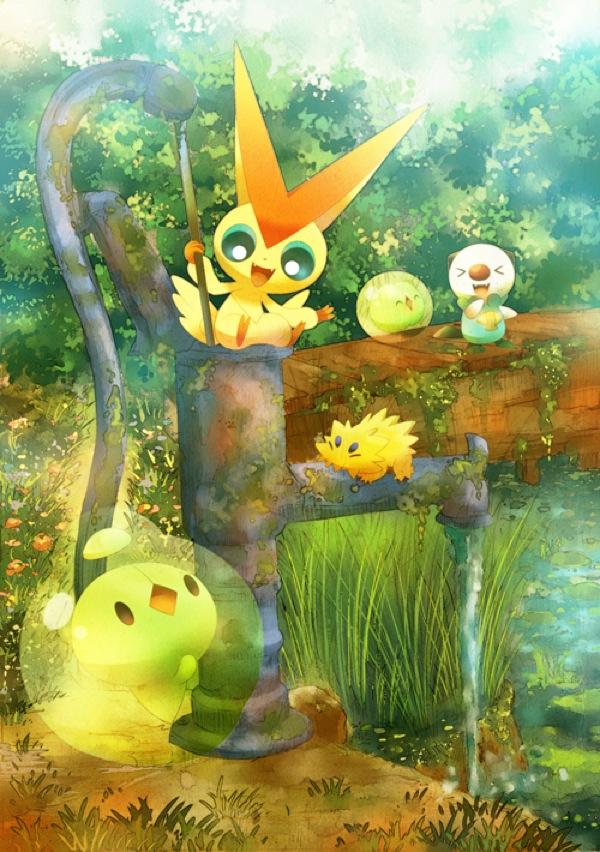Tags: Anime, Pokémon, Duosion, Oshawott, Victini, Joltik, Solosis, Legendary Pokémon, Pixiv, Mobile Wallpaper
