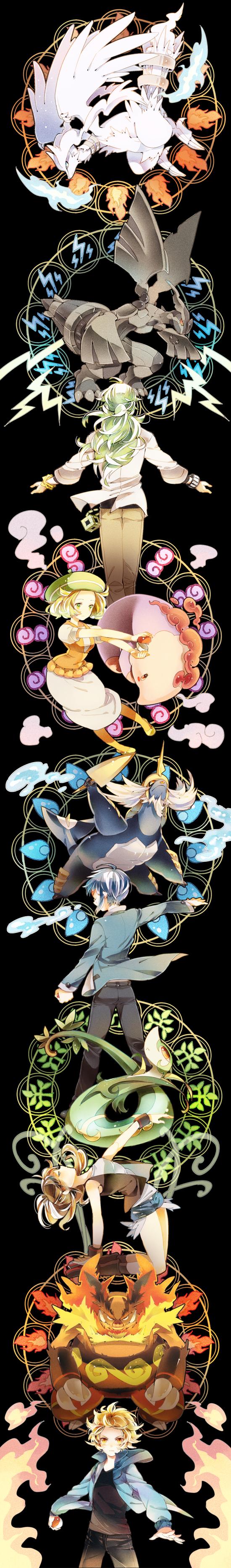 Tags: Anime, Yuuichi-87, Pokémon, Touko (Pokémon), Samurott, N (Pokémon), Musharna, Serperior, Zekrom, Touya (Pokémon), Bel (Pokémon), Reshiram, Emboar