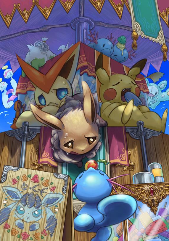 Tags: Anime, Yorujisa Yuuto, Pokémon, Shaymin, Chimecho, Victini, Eevee, Wooper, Glaceon, Reuniclus, Pikachu, Overheating, Store