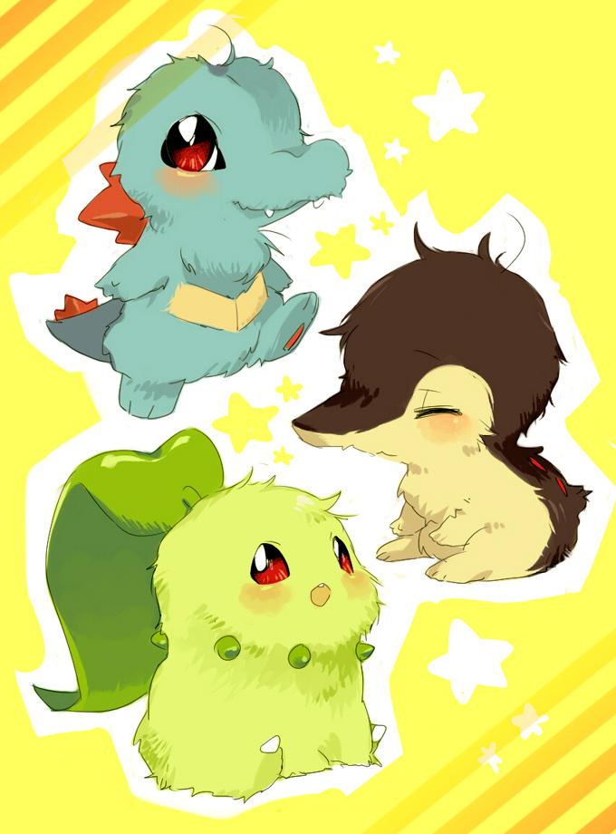 Tags: Anime, Hanakine, Pokémon, Cyndaquil, Chikorita, Totodile, Fanart, Fanart From Pixiv, Pixiv, Starter Pokémon