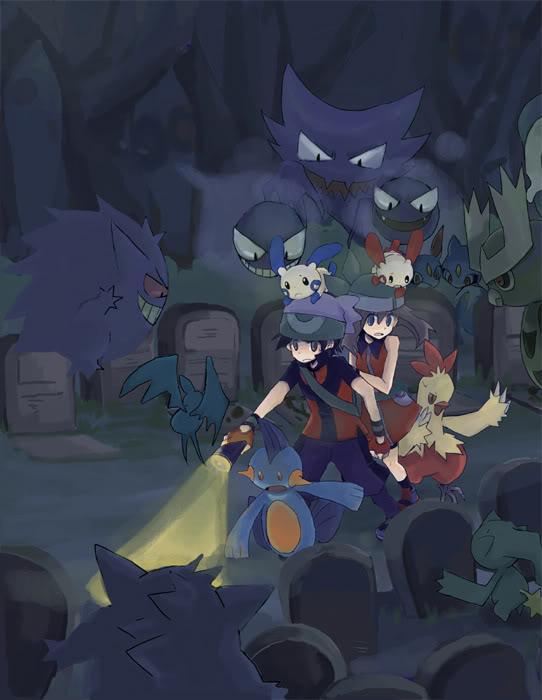 Tags: Anime, Pokémon SPECIAL, Pokémon, Gastly, Plusle, Banette, Zubat, Yuuki (Pokémon), Marshtomp, Sneasel, Haunter, Haruka (Pokémon), Noctowl