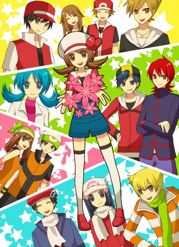 Tags: Anime, Pokémon, Kris (Pokémon), Jun (Pokémon), Red (Pokémon), Kouki (Pokémon), Kotone (Pokémon), Green (Pokémon), Haruka (Pokémon), Fire (Pokémon), Leaf (Pokémon), Hikari (Pokémon), Yuuki (Pokémon)