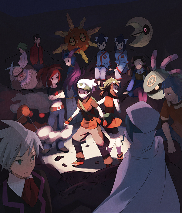 Tags: Anime, Pokémon, Tsutsuji (Pokémon), Nagi (Pokémon), Lunatone, Ran (Pokémon), Mikuri (Pokémon), Slaking, Solrock, Cradily, Torkoal, Senri (Pokémon), Asuna (Pokémon)