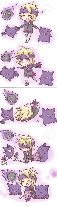Tags: Anime, Satsuki Ume, Pokémon, Clefairy, Matsuba (Pokémon), Haunter, Gengar, Gastly, Tripping, Pixiv, Comic