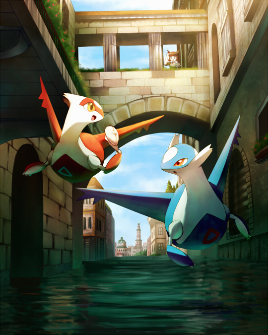 Tags: Anime, Pixiv Id 1324419, Pokémon (Anime), Pokémon the Movie: Latios & Latias, Pokémon, Latios, Kanon (Pokémon), Latias, Legendary Pokémon, Fanart, Pixiv, Fanart From Pixiv