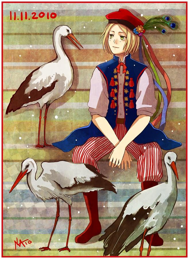 Tags: Anime, radittz, Axis Powers: Hetalia, Poland, Peacock Feather, Stork, Polish Clothes, deviantART