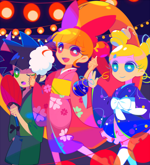 Tags: Anime, Mintchoco, Power Puff Girls, Buttercup (PPG), Blossom (PPG), Bubbles (PPG), Cotton Candy, Festival, Water Yoyo, deviantART, Fanart, Fanart From DeviantART