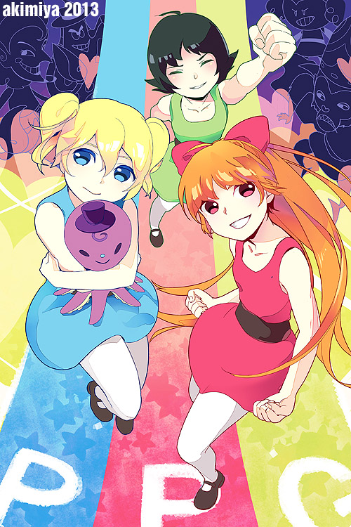 Tags: Anime, Akimiya, Power Puff Girls, Buttercup (PPG), Mojo Jojo, Blossom (PPG), Him (PPG), Bubbles (PPG), Princess (PPG), Fanart, Mobile Wallpaper