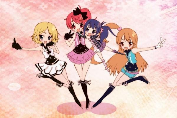 Tags: Anime, Four Girls, Pixiv Id 1529547, V Gesture, Pretty Rhythm: Aurora Dream, Takamine Mion, Harune Aira