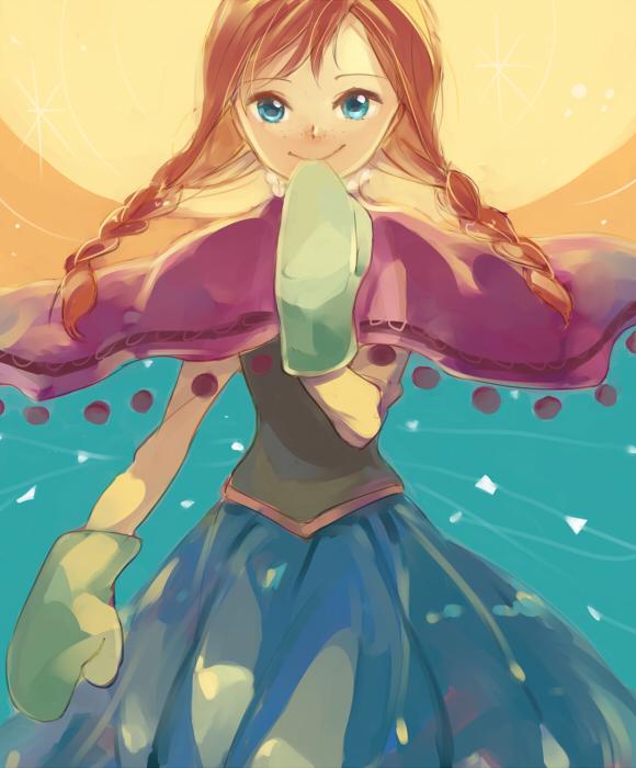 Tags: Anime, sou (Pixiv2760884), Frozen (Disney), Princess Anna of Arendelle, Green Handwear, Floating Cape, Fanart From Pixiv, Disney, Pixiv, Fanart