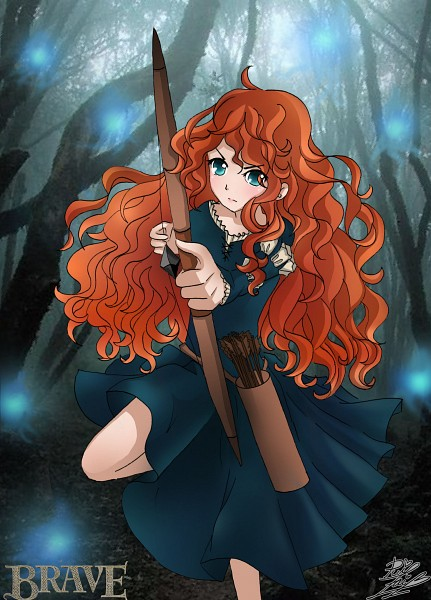 Tags: Anime, Archery, Drawing Error, Aiming At Camera, Holding Weapon, Brave (Disney), Princess Mérida