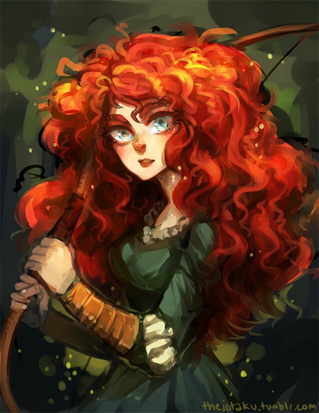 Tags: Anime, Jotaku, Brave (Disney), Princess Mérida, Colored Eyelashes, Disney, Tumblr, Pixar