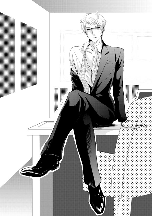 Tags: Anime, K-anzu, Axis Powers: Hetalia, Prussia, Open Shirt, Sitting On Table, Crossed Legs
