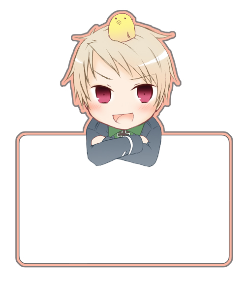 Tags: Anime, Kashiwadokoro, Axis Powers: Hetalia, Gilbird, Prussia, Little Yellow Bird, Crossed Arms