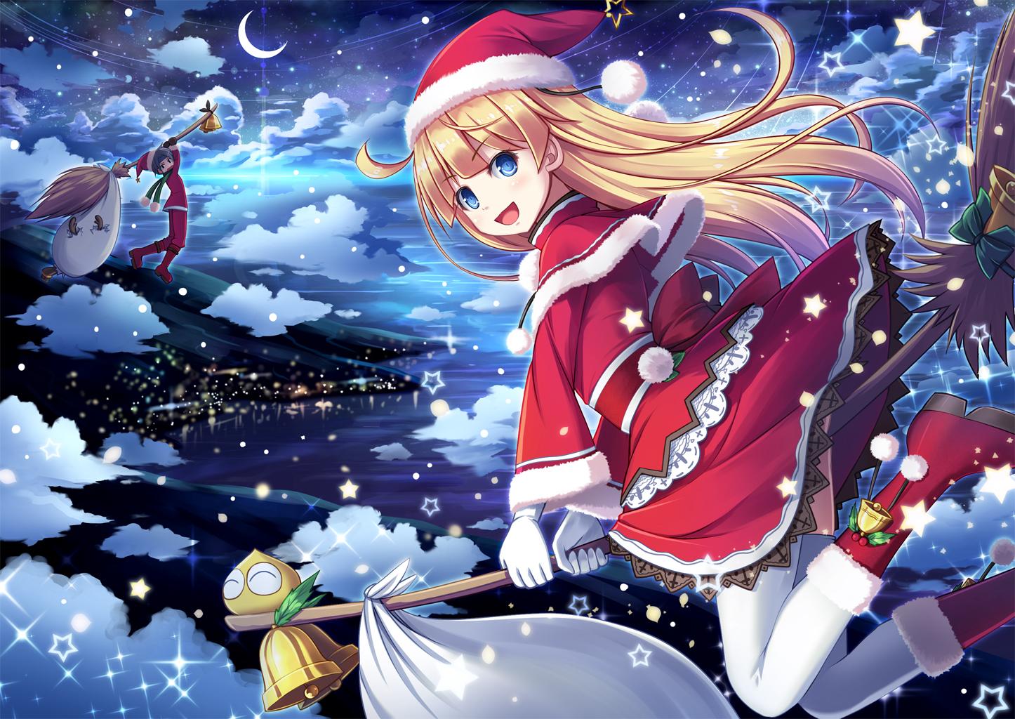 Рождество открытки аниме