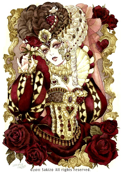 Tags: Anime, Sakizou, Alice in Wonderland, Queen of Hearts, Ruff Collar, Hat Feather, Watercolor, Mobile Wallpaper, Traditional Media, Pixiv