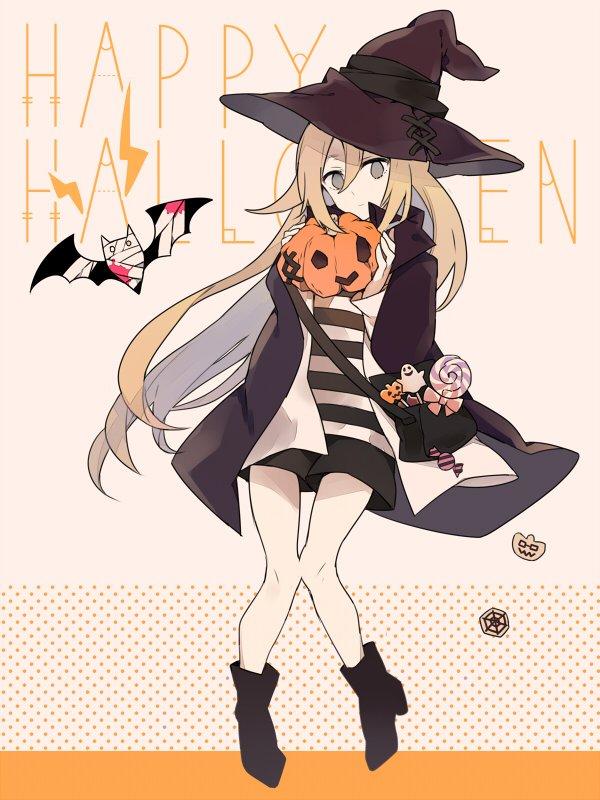 Tags: Anime, Pixiv Id 4549658, Satsuriku no Tenshi, Rachel Gardner, Isaac Foster, Text: Halloween, Wallpaper, Twitter