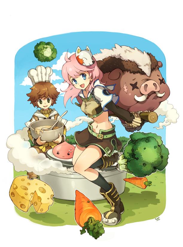 Tags: Anime, Tiv, Ragnarok Online: 5th Anniversary Memorial Book Artbook, RAGNARÖK ONLINE, Poring, Hunter (Ragnarok Online), Cheese, Broccoli (Food), Fanart, Pixiv