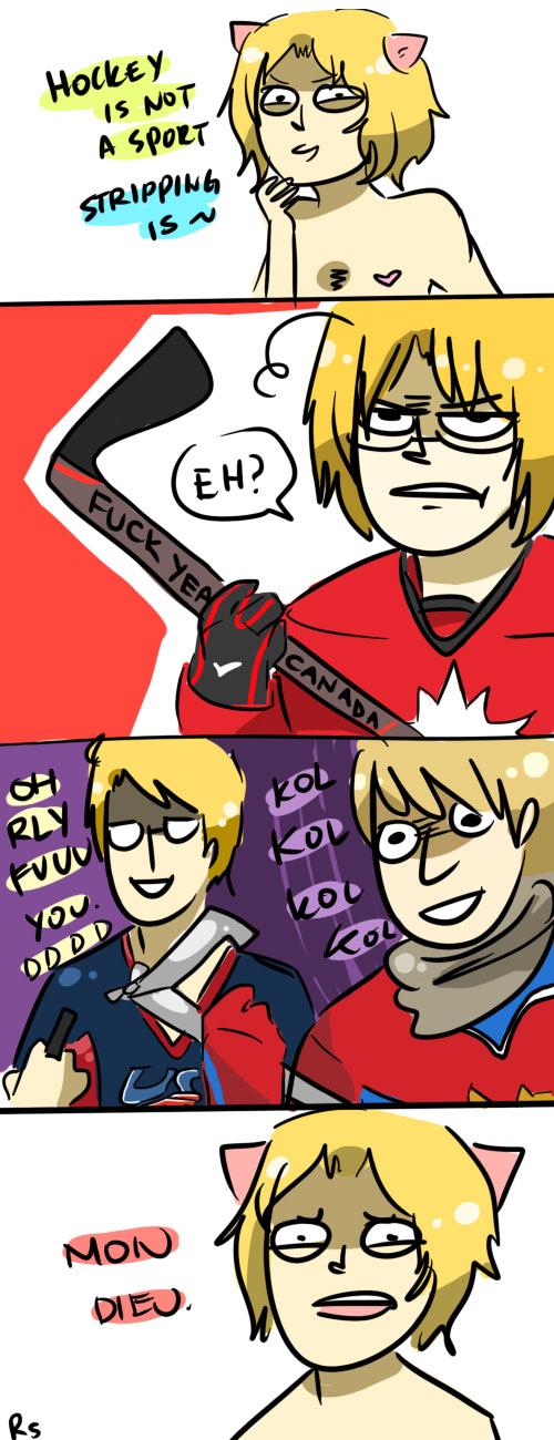 Tags: Anime, Randomsplashes (Artist), Axis Powers: Hetalia, France, Canada, United States, Russia, French Text, Hockey Stick, Hockey, Comic, Soviet Union, Allied Forces