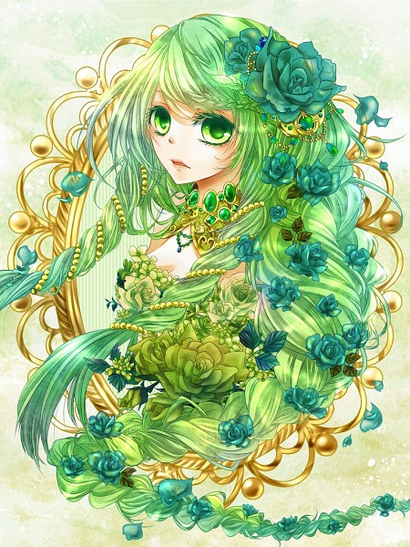 Tags: Anime, Green, Headdress, Rapunzel, Hair Jewelry, Gemstone, Green Flower