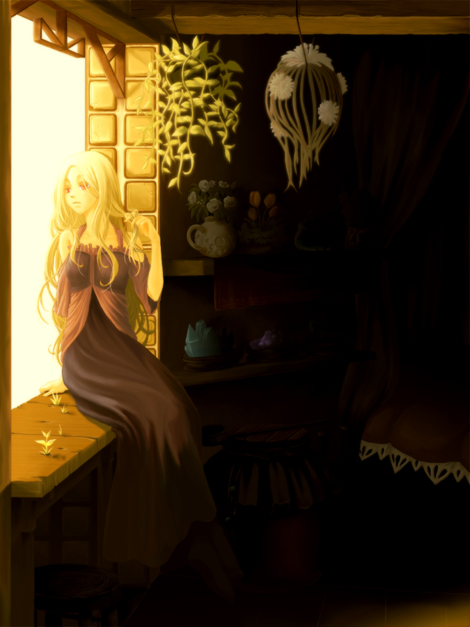 Tags: Anime, Glow, Grass, Rapunzel, Window, Looking Away, Rapunzel (Character)