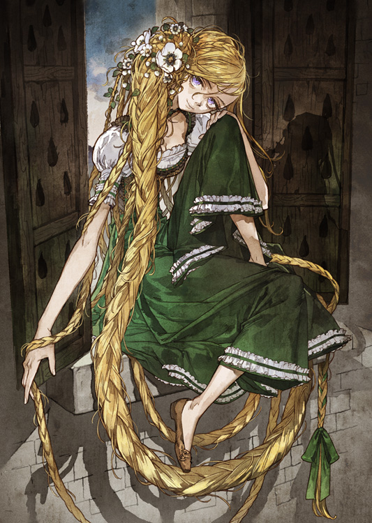 Tags: Anime, Green Outfit, Headdress, Rapunzel, Green Dress, Mugishirako, Rapunzel (Character)