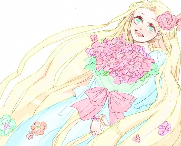 Tags: Anime, Rapunzel, Bouquet, Disney, Rapunzel (Character), Straight Hair, Holding Flower