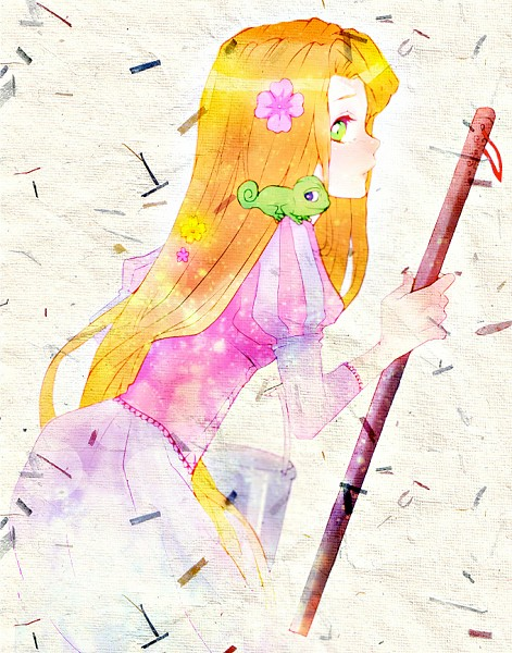 Tags: Anime, Bucket, Mop, Pet, Rapunzel, Lizard, Disney