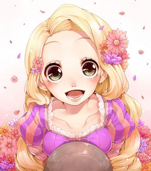 Tags: Anime, Rapunzel, Purple Dress, Purple Outfit, Pink Flower, Adorably Cute, Rojiko