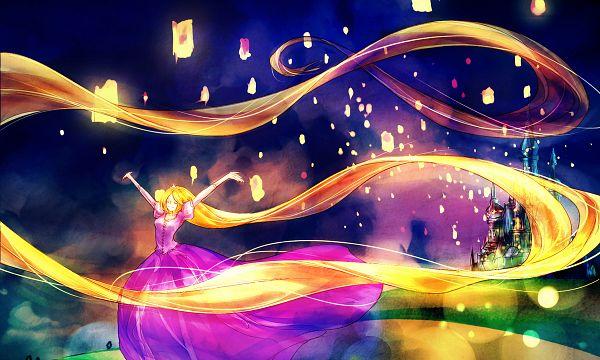 Tags: Anime, Princess, Pink Dress, Pink Outfit, Castle, Rapunzel, Paper Lantern