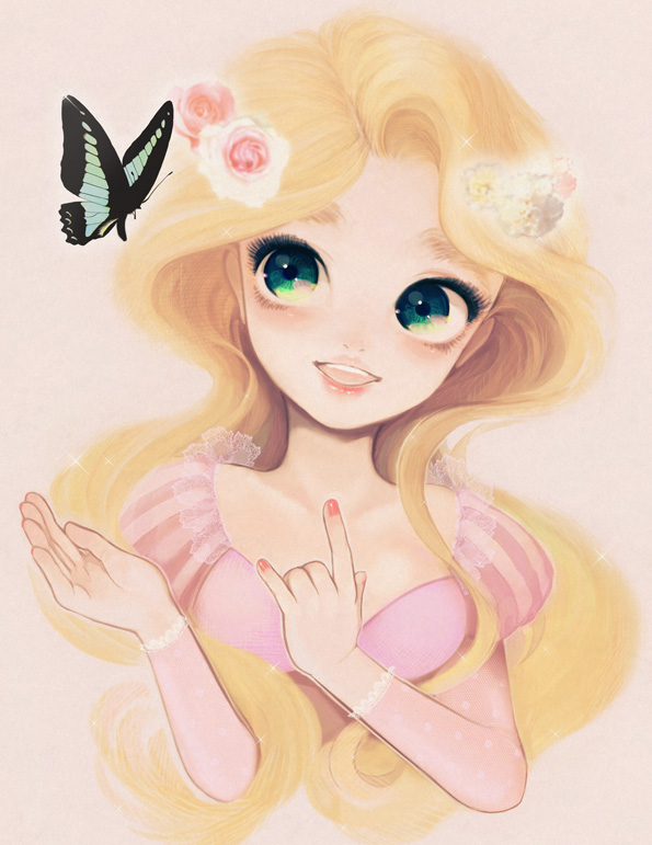 Tags: Anime, Pink Dress, Pink Outfit, Butterfly, Rapunzel (Character), Looking To Side, Tangled (Disney)