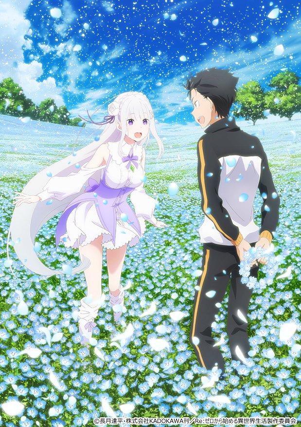 Tags: Anime, WHITE FOX, Re:Zero Kara Hajimeru Isekai Seikatsu, Re:Zero Kara Hajimeru Isekai Seikatsu: Memory Snow, Emilia (Re:Zero), Natsuki Subaru, Official Art