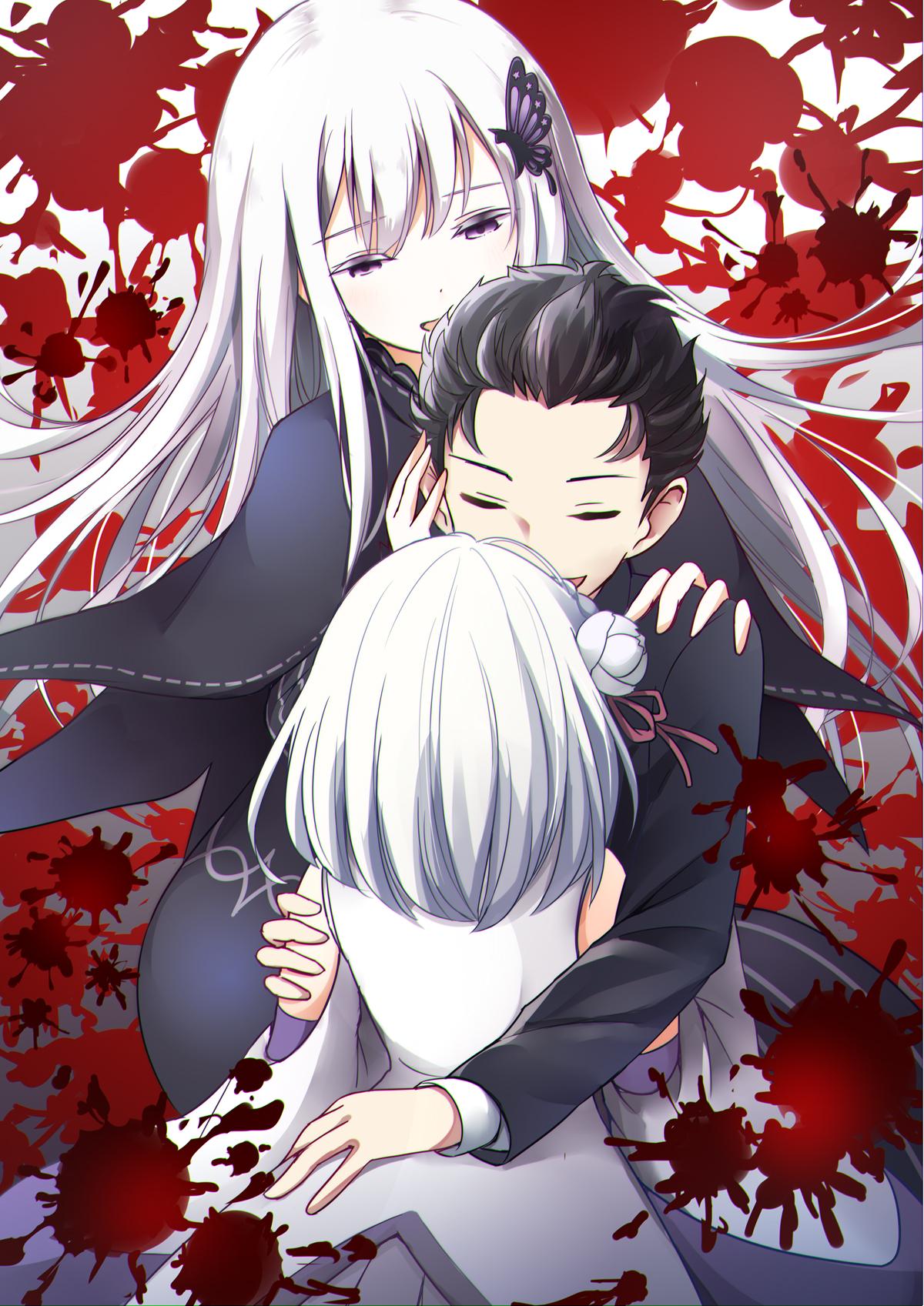 emilia and natsuki subaru (re:zero kara hajimeru isekai